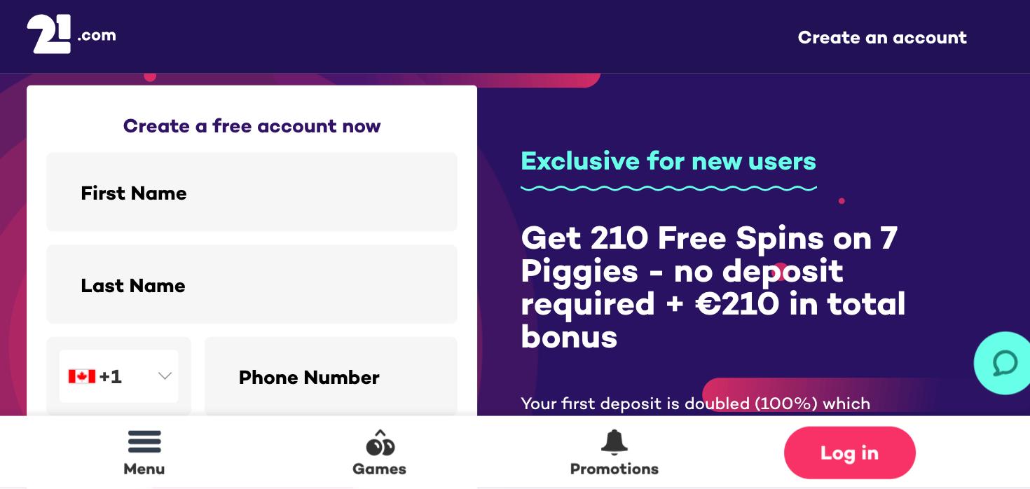 21.com mobile app preview