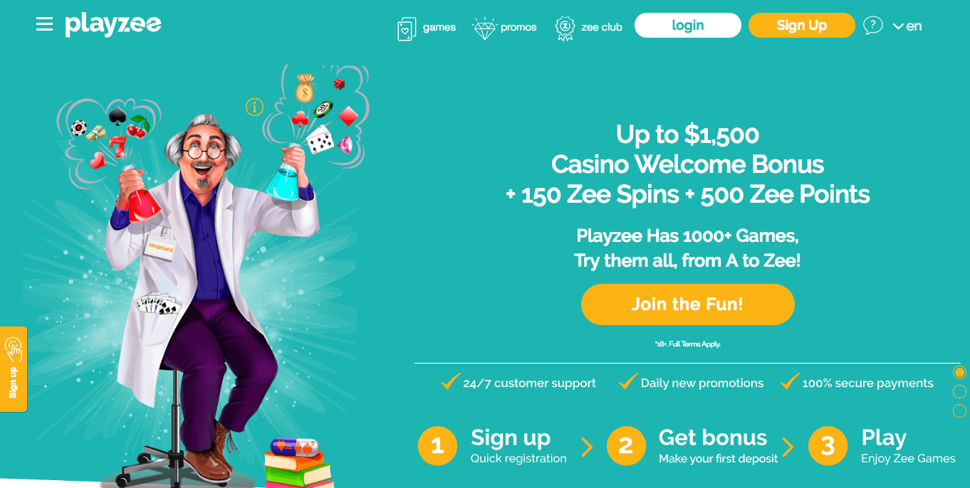 Playzee Casino desktop preview