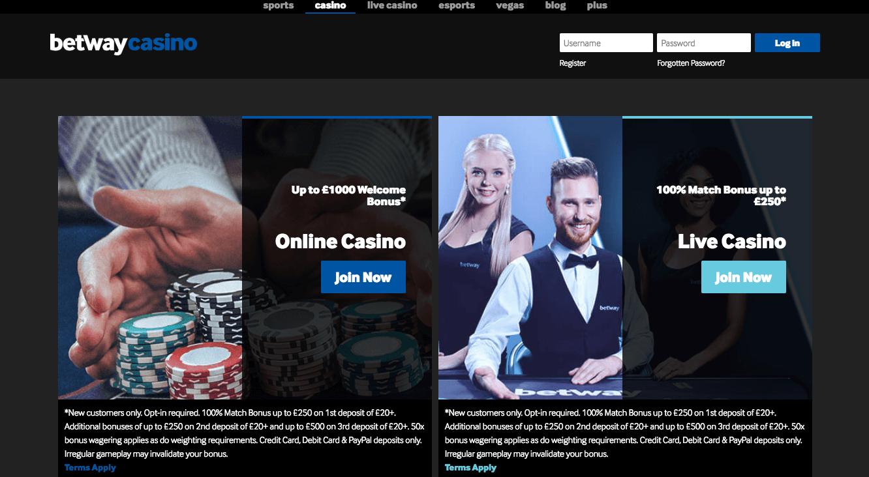 Betway Casino desktop preview