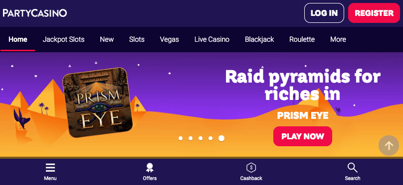 PartyCasino mobile app preview