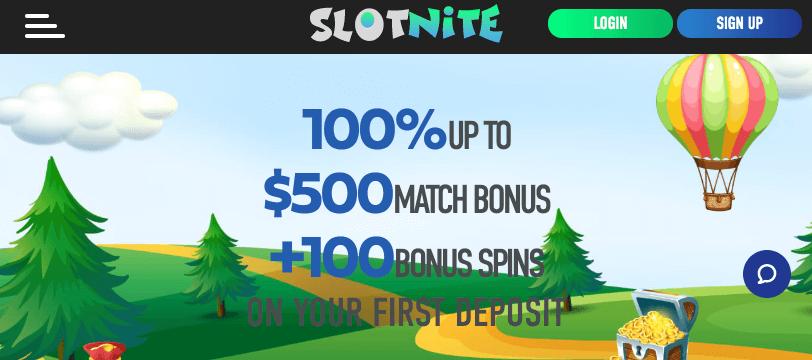 Slotnite Casino mobile app preview