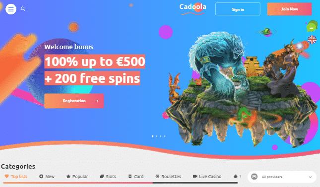 CadoolaCasino desktop preview