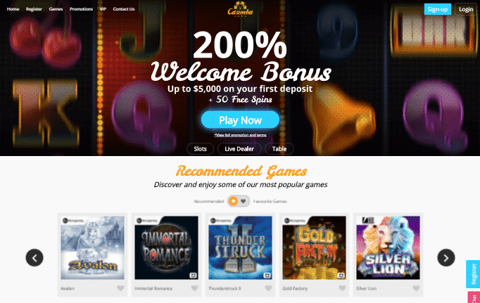Casimba Casino desktop preview