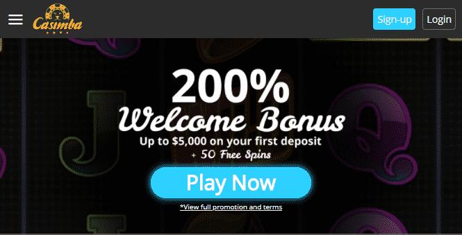 Casimba Casino mobile app preview