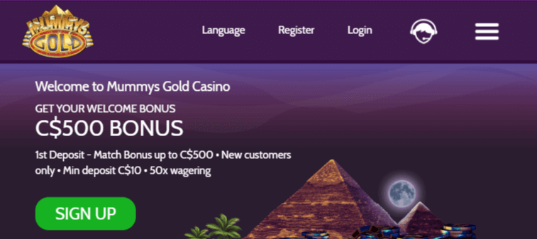 Mummys Gold Casino mobile app preview