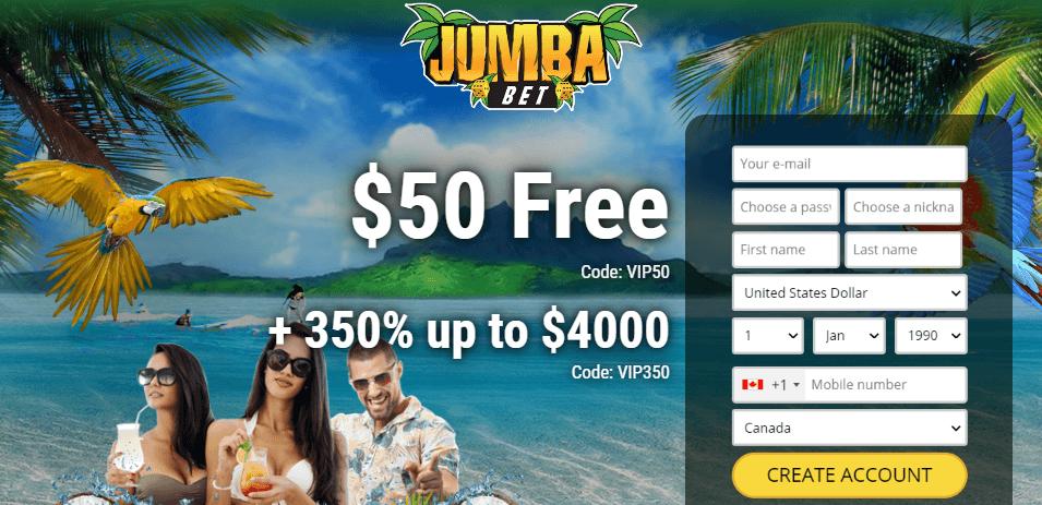 Jumba Bet desktop preview