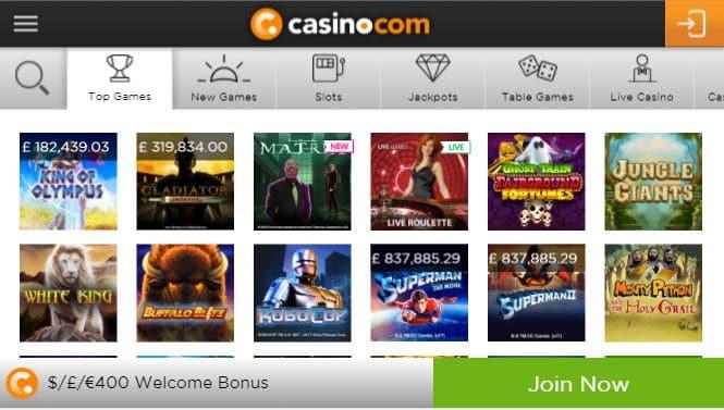 Casino.com mobile app preview