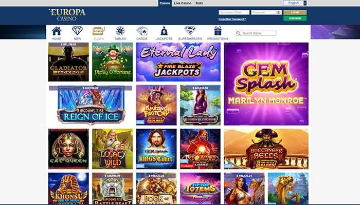 Europa Casino Jeux Aperçu