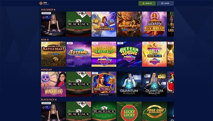 Sia Casino jeux aperçu