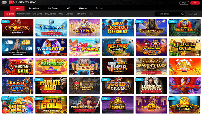 Mansion Casino Games Preview