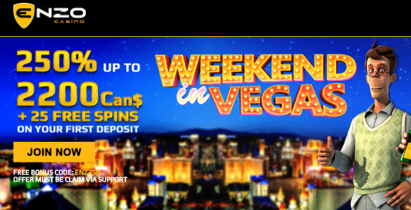 ★ 250% First Deposit Bonus up to C$2200 + 25 Free Spins at Enzo Casino