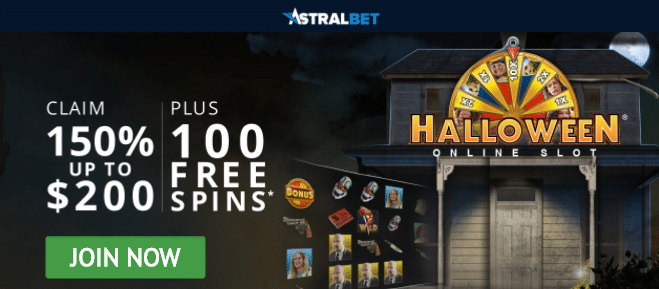 150% First Deposit Bonus up to C$200 + 100 Free Spins on Halloween at AstralBet Casino