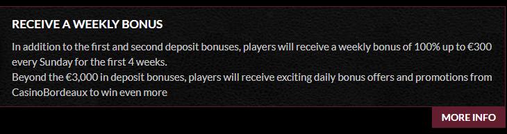 ★ 100% Reload Bonus up to C$300 at Casino Bordeaux