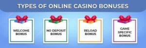 welcome bonuses - types of bonuses