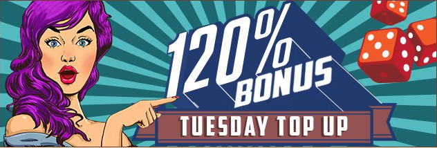 ★ 120% Tuesday Match Bonus at Madame Casino