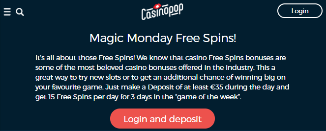 》45 Magic Monday Spins at CasinoPop