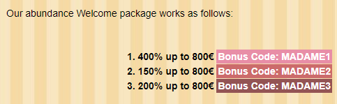 ★ 200% Reload Bonus up to C$800 at Madame Chance