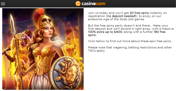 ★ 100% Welcome Bonus up to C$400 + 200 Free Spins at Casino.com