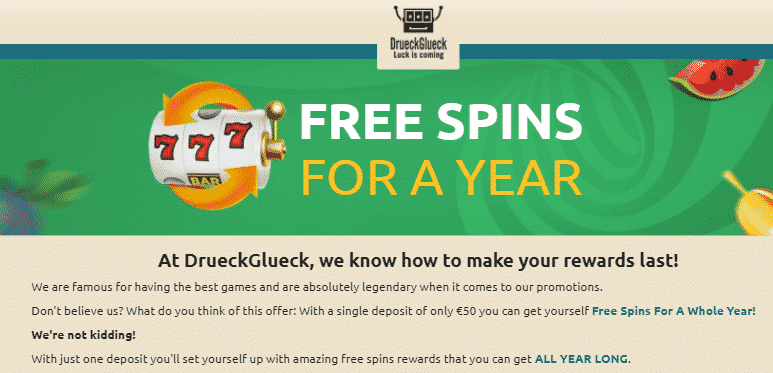 》50% First Deposit Bonus up to C$50 + Spins For a Year at DrueckGlueck