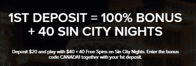 》100% First Deposit Bonus + 40 free Spins on Sin City Nights at Mobil6000 Casino