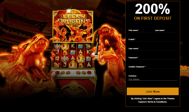 ★ 200% First Deposit Bonus at Thebes Casino