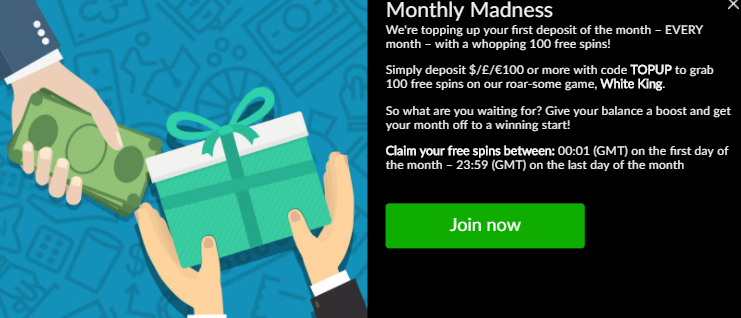 》100 Monthly Madness Spins at Mansion Casino