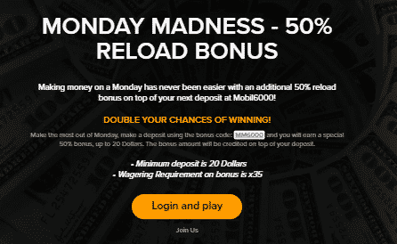 》50% Reload Bonus up to C$20 at Mobil6000 Casino