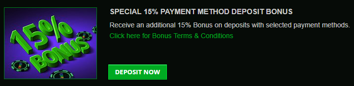 》15% Match Bonus on Selected Payment Methods at Crazy Casino