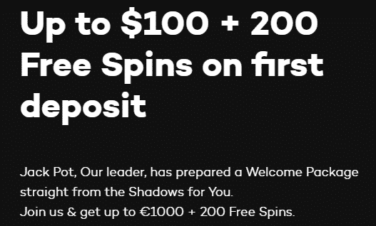 ★100% First Deposit Bonus up to C$100 + 200 Free Spins at Shadowbet