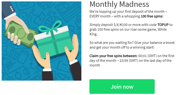 》100 Free Spins Monthly Madness at Slots Heaven