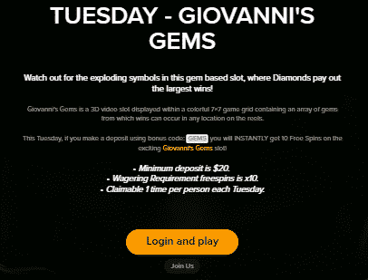 》10 Free Spins on Giovanni's Gems at Mobil6000 Casino