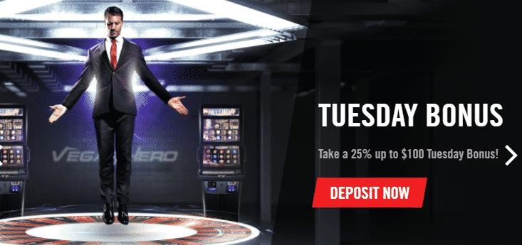 ★25% Weekly Match Bonus up to C$100 at Vegas Hero Casino