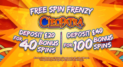 ★ Deposit C$40, get 100 Free Spins on Cleopatra at Slot Fruity Casino