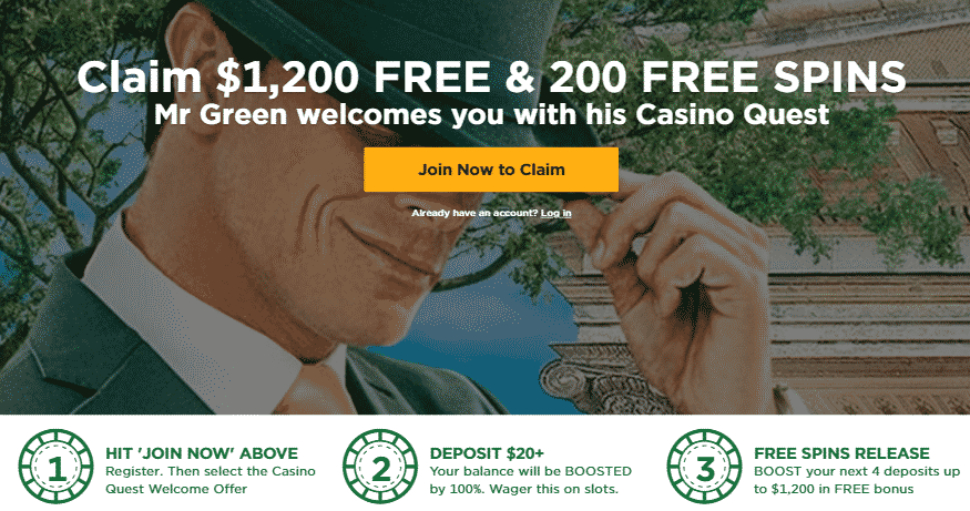 ★ Get a 20% Reload Bonus on 5th Deposit up to C$400 at Mr Green Casino