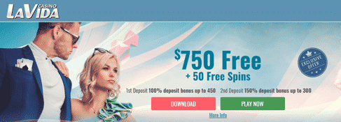 》150% Second Deposit Bonus up to C$300 at Casino La Vida