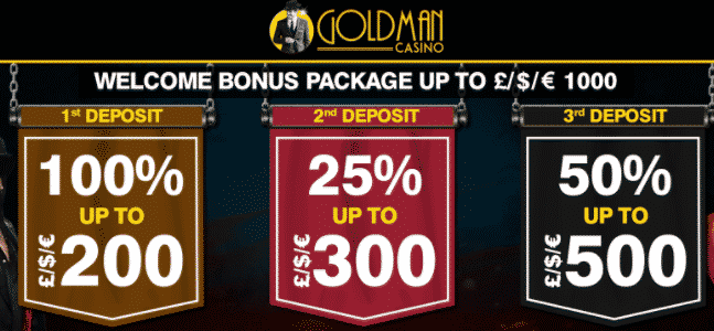 ★ 100% First Deposit Bonus up to C$200 at Goldman Casino