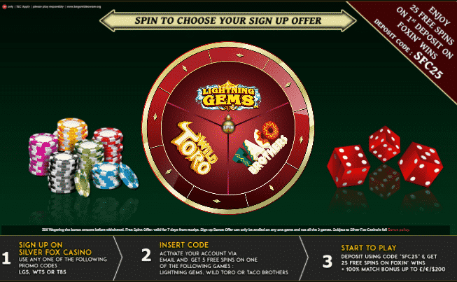 ★ Welcome Package: 5 No Deposit Spins + 100% up to C$200 + 25 Free Spins at Silver Fox Casino
