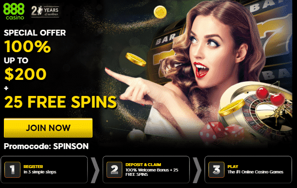 ★ Get a 100% First Deposit Bonus up to C$200 + 25 Free Spins at 888casino