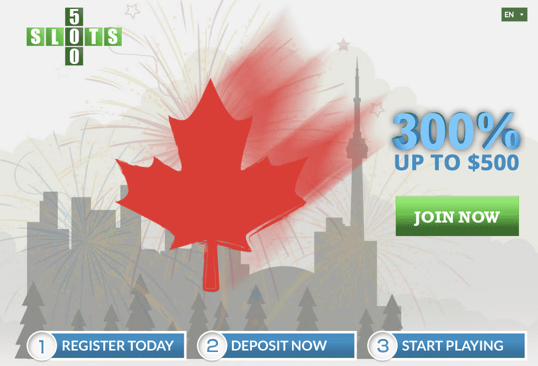 ★ Deposit with Neteller and Get a 300% Bonus up to C$500 at Slots500