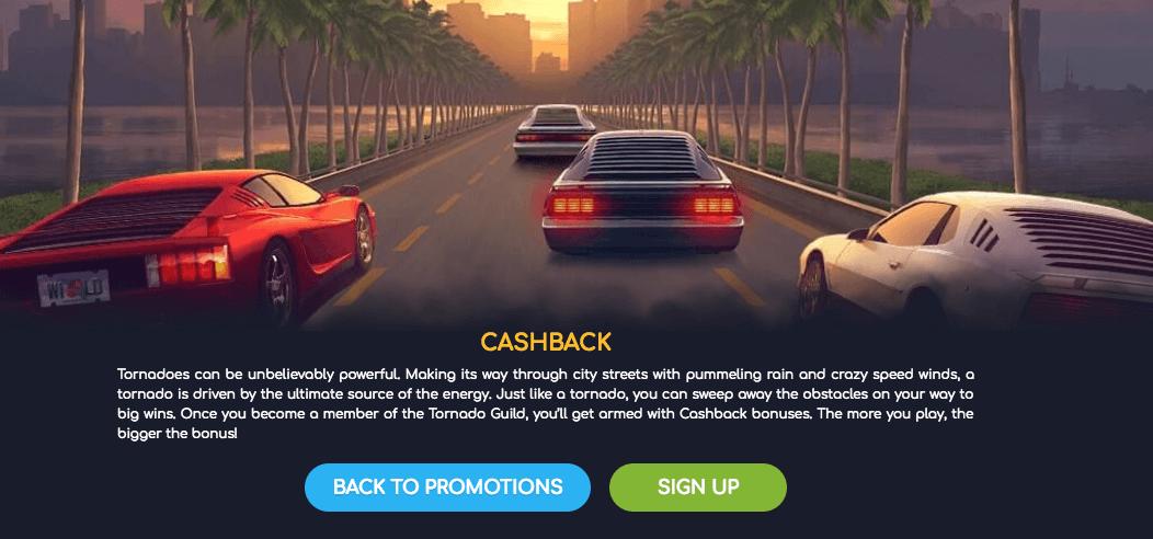 ★ Deposit and Get a Cashback Bonus at Wild Tornado