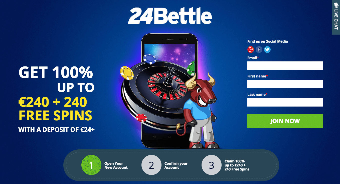★ First Deposit Bonus: 100% Bonus up to C$240 + 240 Free Spins at 24Bettle