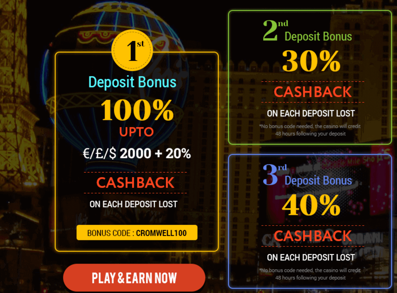 ★ Grab a 30% Cashback Second Deposit Bonus at Cromwell Casino