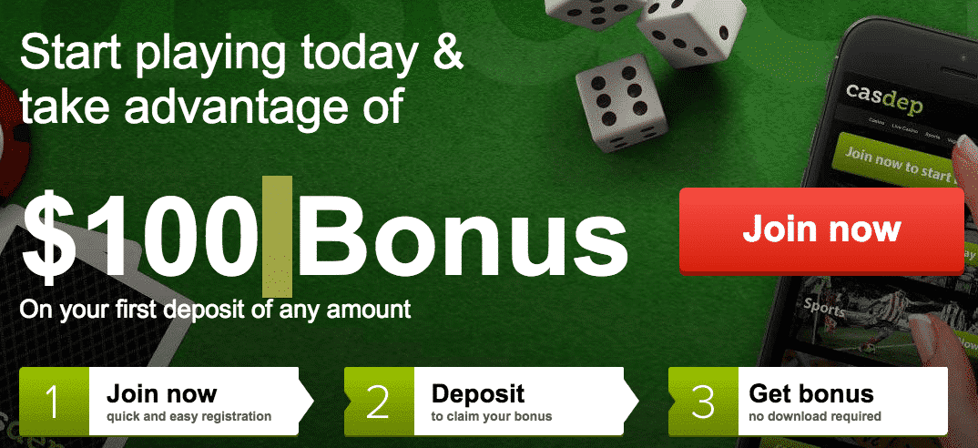 ★ Deposit for the First Time and Claim a 100% Bonus up to C$100 at Casdep Casino
