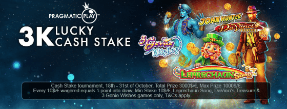 ★ C$3000 Lucky Cash Stake Tournament Bonus at The Online Casino