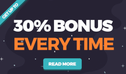 ★ Get up to 30% for your Reload Bonus at Happy Hugo