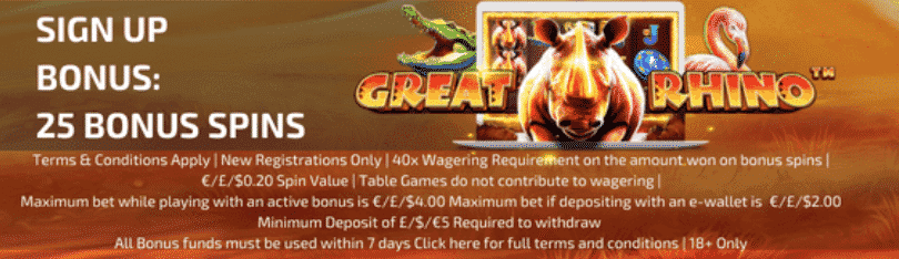★ 25 No Deposit Free Spins on Great Rhino at Trada Casino