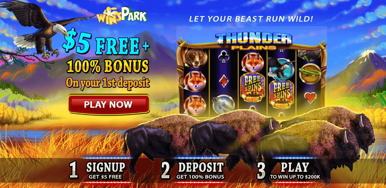 ★ Claim a C$5 No Deposit Bonus + 100% First Deposit Bonus up to C$200 on Thunder Plains at Winspark Casino