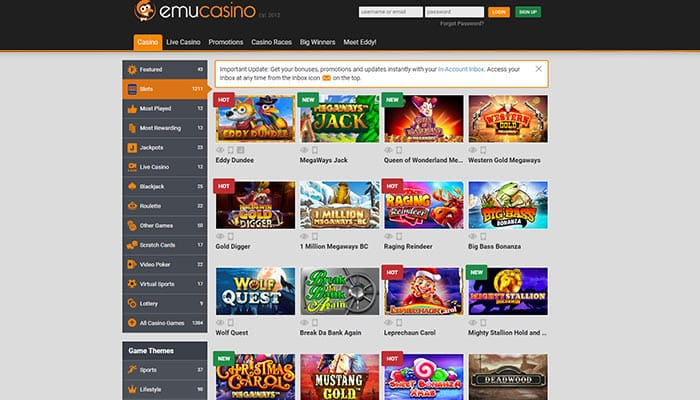 Emu Casino Slots Preview