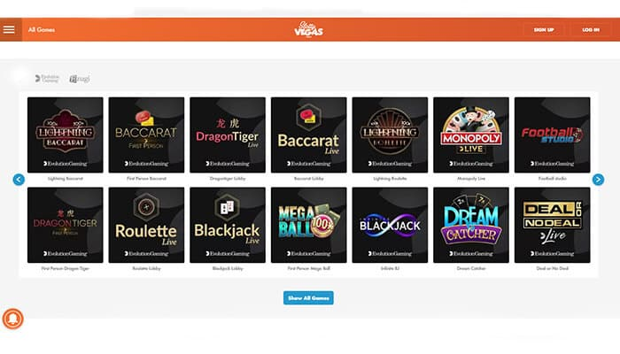 Slotty Vegas live casinos preview