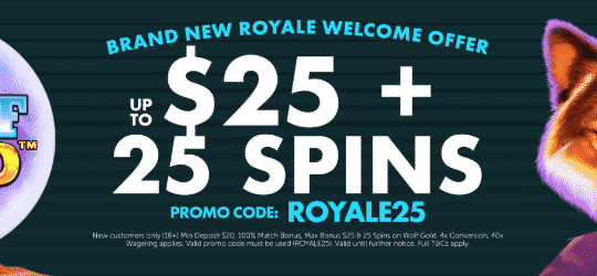 ★ 100% First Deposit Bonus up to C$25 + 25 Free Spins on Wolf Gold at Spins Royale Casino
